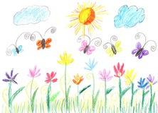 Barnteckningsfjäril och blommanatur Royaltyfria Foton