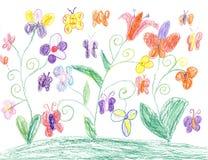 Barnteckningsfjäril och blommanatur Arkivbild