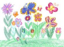 Barnteckningsfjäril och blommanatur Fotografering för Bildbyråer