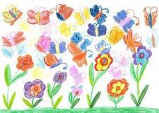 Barnteckningsfjäril och blommanatur Arkivfoton