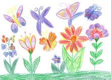 Barnteckningsfjäril och blommanatur Arkivfoto