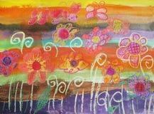 Barnteckningsfjäril och blommor Royaltyfri Foto
