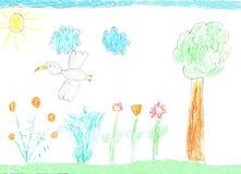Barnteckningsnatur, fåglar och blommor royaltyfri illustrationer