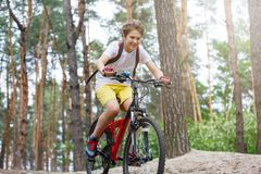 Barntonåring i den vita t-skjortan och gula kortslutningar på cykelritt i skog på våren eller sommar Lyckligt le cykla för pojke  royaltyfri fotografi
