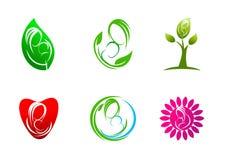Barnuppfostran logo, omsorg, växter, blad, symbol, symbol, design, begrepp som är naturligt, moder, förälskelse, barn stock illustrationer