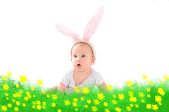 Barnuppklädd som påskkanin Royaltyfria Bilder