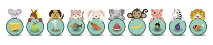 Barnutbildning Djur och deras mat vektor stock illustrationer