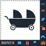 Barnvagn f?r tv? behandla som ett barn symbolsl?genheten stock illustrationer