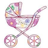 Barnvagn med lutningblommor Arkivfoto
