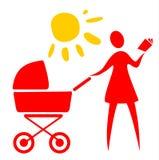 barnvagnkvinna vektor illustrationer
