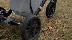 Barnvagnritter på en skogväg Närbild av hjulen lager videofilmer