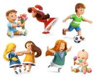 Barnvektorsymboler royaltyfri illustrationer