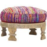 Barnwellottomane, Polyester gevulde Lichte variaties in kleur, Layla Ottoman, Pauw, Met de hand gemaakte Zijdekruk, Zijdeottomane royalty-vrije stock afbeelding