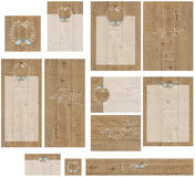 Barnwood love birds engraving wedding invitation set Royalty Free Stock Photo