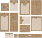 Barnwood-Wellensittiche, die Hochzeitseinladungssatz gravieren lizenzfreies stockfoto