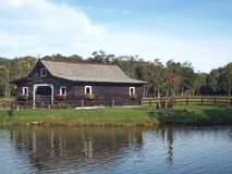 Barnyard by the Lake. Photo of a barnyard in a rural area in the state of Santa Catarina, Brazil stock photo