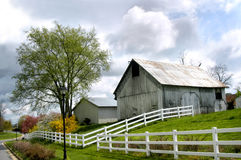 Barnyard in Suburbia. White washed barn and shed stand surrounded by white fence in a suburb Stock Photo