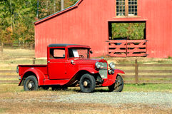 Barnyard and Vintage Auto Royalty Free Stock Photos