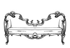 Barock bänkvektor Imperialistiskt stilmöblemang Tappningdesigner stock illustrationer