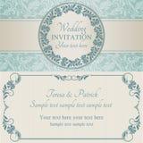 Barock bröllopinbjudan, blått och beiga Arkivfoto