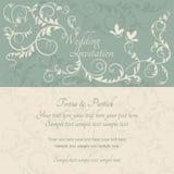 Barock bröllopinbjudan, blått och beiga stock illustrationer