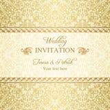 Barock bröllopinbjudan, guld royaltyfri illustrationer