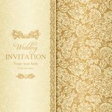 Barock bröllopinbjudan, guld vektor illustrationer