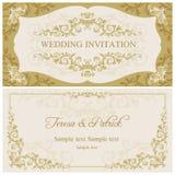 Barock bröllopinbjudan, guld och beiga vektor illustrationer