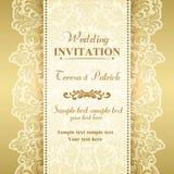 Barock bröllopinbjudan, guld och beiga stock illustrationer