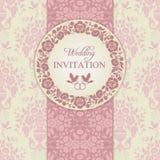 Barock bröllopinbjudan, rosa färger och beiga Royaltyfria Bilder