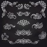 Barock design för gravyrbladsnirkel vektor illustrationer