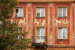Barock facade i den gammala townen. Warsaw. Polen Arkivfoton