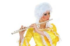 barock flautist arkivbilder