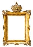 Barock guld- bildram med kronan Tappningobjekt Royaltyfri Bild