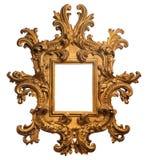 Barock guld pläterad träbildram med banan arkivfoton