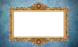 Barock guld- ram i Retro tappningbakgrund för Grunge arkivfoto