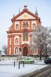 Barock kyrkliga St Mary, Brandys nad Labem Stara Boleslav Arkivbild