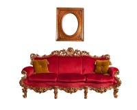 barock röd sofa Arkivfoton