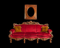 barock röd sofa Royaltyfri Fotografi
