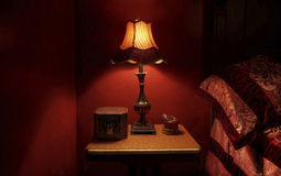 Barock röd sovrumdetalj Royaltyfria Bilder