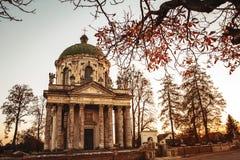 Barock romare - katolsk kyrka av St Joseph i Pidhirtsi Den Pidhirtsi byn lokaliseras i det Lviv landskapet, västra Ukraina arkivbild