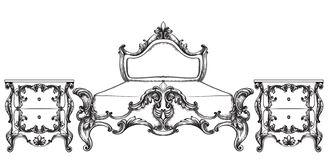 Barock sängvektor Imperialistiskt stilmöblemang Tappningdesigner vektor illustrationer