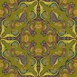 Barock s?ml?s modell f?r broderi Färgrik blom- Paisley för vektorgobeläng prydnad Grunge textur Broderade blommor, sidor stock illustrationer