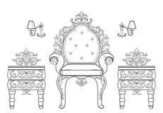 Barock samling för rik uppsättning för möblemang Smyckad bakgrundsvektorillustration Royaltyfri Bild