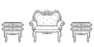Barock samling för rik uppsättning för möblemang Smyckad bakgrundsvektorillustration Arkivbild