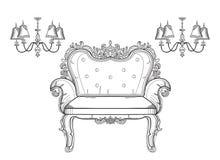 Barock samling för rik uppsättning för möblemang Smyckad dekorvektorillustration Royaltyfri Foto