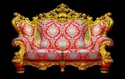 Barock soffa med den guld- ramen royaltyfri bild