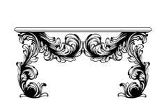 Barock tabellvektor Imperialistiskt stilmöblemang Tappningdesigner vektor illustrationer