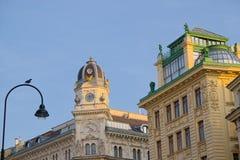 Barocka byggnader längs den Graben gatan i Wien Arkivfoto