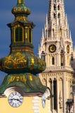 Barocka och gotiska Arhitecture, Zagreb, Kroatien Royaltyfri Fotografi